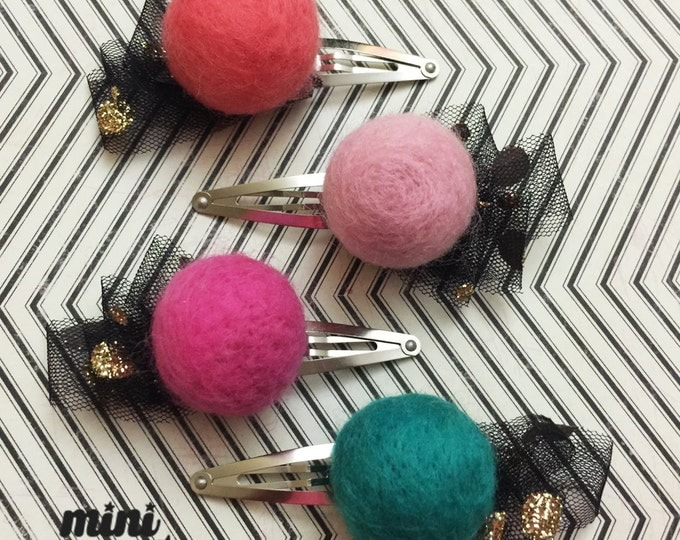 mini Katie - Adorable Wool Felt Ball Hair clip, Hair Accessories for baby girls Toddler Kids