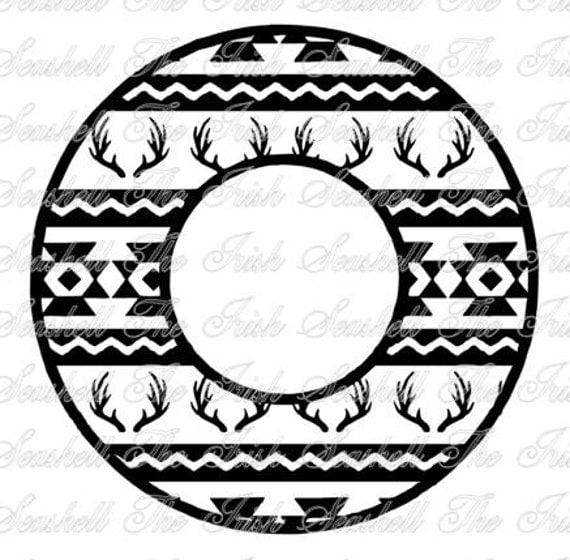 Aztec Tribal Deer Monogram Circle For Silhouette Or Vinyl