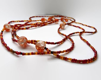 Wrap necklace, Long necklace, XL necklace,   seed beads, Red, brown tones seed beads. Czech glass beads in orange Warm colors.