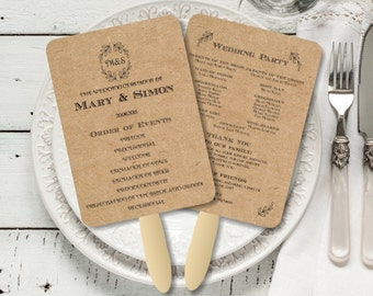 Vintage Wedding Program Fan template printable, Editable text Rustic Kraft Foldable Wedding Program, Instant Download wedding program