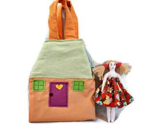fabric doll house bag cloth dollhouse miniatures toddler bag kids girl bag busy bags sleeping bag carry along doll clothes dollshouse