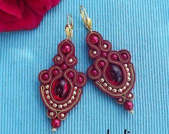 Ruby & Gold  Soutache Earrings