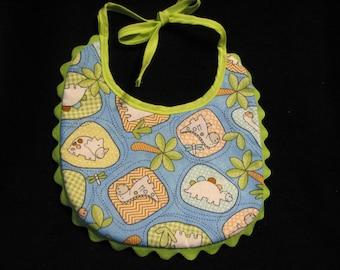 Baby Boy Reversible Dinosaur Print Baby Bib