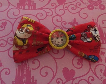 Nickelodeon Paw Patrol Fabric Hair Bow with bottle cap center, party favors, birthday party, gift, red hair bow