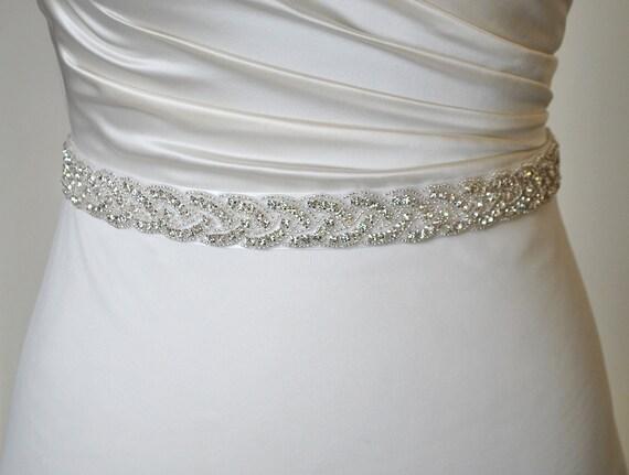 bridal waist band belt rhinestone bead trim