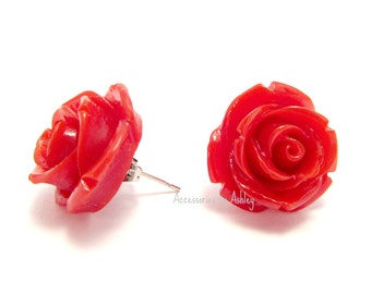 Rose Earrings, Stud Earrings, Red Earrings, Flower Earrings, Rose Jewelry, Rose Stud Earrings, Rose Post Earrings, Bridesmaid jewelry