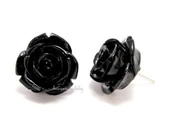 Rose Earrings, Stud Earrings, Black Earrings, Flower Earrings, Rose Jewelry, Rose Stud Earrings, Rose Post Earrings, Bridesmaid jewelry