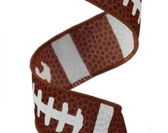"1.5"" Football Ribbon, Football Laces Ribbon, Brown Football Ribbon, Sports Ribbon, Wired Ribbon - (10 Yards)- RG1092"