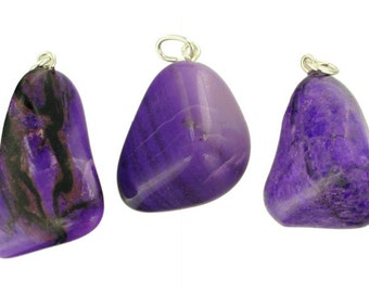 Sugilite pendant with silver eye