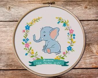 Customisable Birth Announcement Cross Stitch Pattern,  elephant Cross stitch pattern, modern cross stitch pattern, Birth Announcement PDF