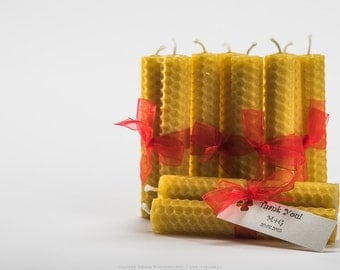 Set of 10 hand rolled beeswax candles Wedding favors Birthday Candles table decor, home decor, gift