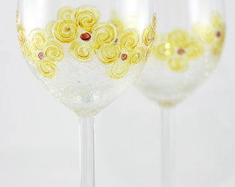 Wine Glasses with Yellow Flowers, Hand Painted Wine Glasses, Anniversary Glasses, Wine Glasses for Couple, Toasting Glasses, Wine Lover Gift