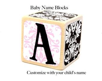 Custom Baby Name Blocks Nursery Baby Shower Gift Newborn Photo Prop Wood Blocks 2 Inch