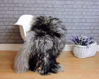 Luxury real  icelandic sheepskin rug mongolian style curly hair grey/black colour  231
