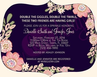 Double the Giggles, Double the Twirls PRINTABLE Baby Sprinkle Invitation
