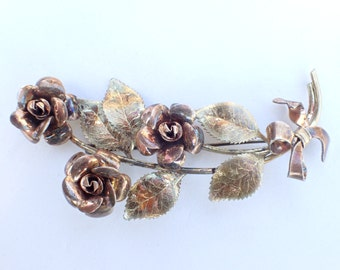 Signed Krementz rolled rose and yellow gold flower brooch AB274