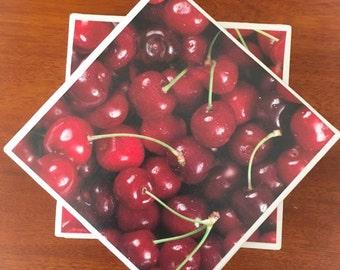 Cherry coasters, fruit coasters, ceramic tile coasters, tile coasters, coaster set, table coasters