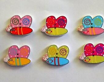6 Wooden Cartoon Snail Buttons - #SB-00272
