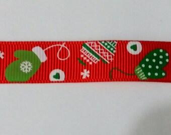 Christmas Mitten  Ribbon - Christmas Ribbon - Crafting - Scrapbooking