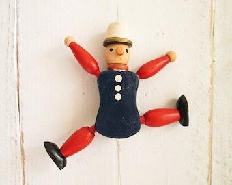 Vintage old wooden pull string doll - Jumping Jack