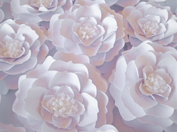 set of 8 white paper flowers wall paper flower big paper