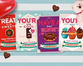 Cupcake Valentine Cards for kids- Kids Valentine Cards- Sweet Valentine Cards- DIY PRINTABLE Valentine Cards- Valentine Cards