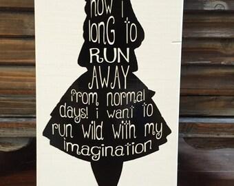 Alice In Wonderland Quote Word Art Wood Sign