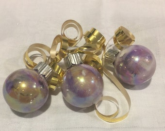 Purple Gold Inside Swirl Hand  Painted Small Ornaments Gift Topper Tag
