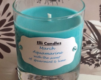 Birthstone candle - March. Part of our new range with a candle for each month.
