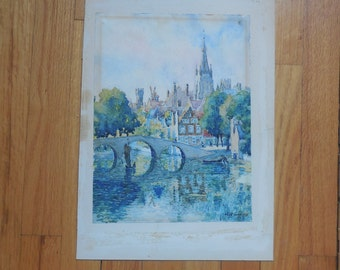 Orig Water Color Painting By Listed Artist Katherine Kinsella Of Bridge Flanders