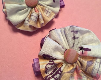 Fabric flower barrettes
