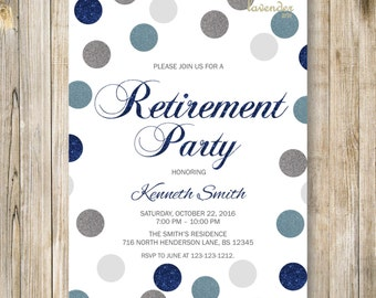 Navy Blue Silver RETIREMENT PARTY Invitation, Blue Gray Confetti Retirement Celebration,  Man's Retiring Invite, Diy Adult Party Printables