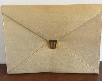 Mid Century Ingber Envelope Clutch Purse Gold Shimmer