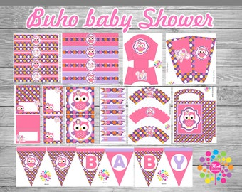 Printable Party set!!! baby girl! Owl!!!