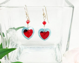 Legend of Zelda Inspired Blue and Red Heart Container Dangle Drop Earrings Hand Painted Crystal and Sterling Silver Heart Earrings