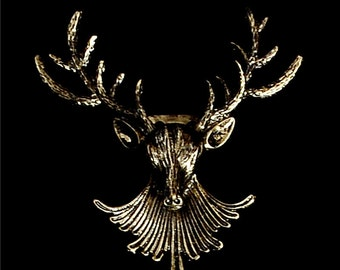 Christmas Gold Plated Deer Antlers Head Pin Brooches
