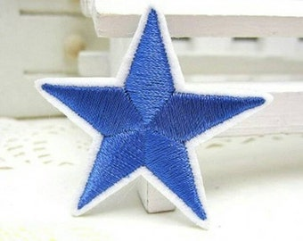 1 BLUE Red Yellow Gold White Black Silver Star Applique Star Patch Iron On or Sew On Moon Night Stars Sky Star Patches