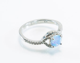 Eye-Shaped Blue Lab Created Opal Micro Pave Ring