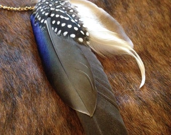 Feather cuff and dangle earring
