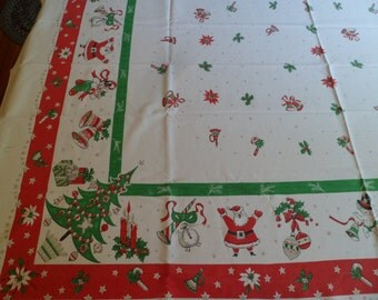 "Vintage Christmas & New Year's Tablecloth~49 x 62"" Snowmen Stocking Santa Claus"