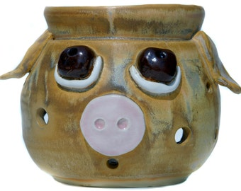 20% DONATION TO Indraloka Animal Sanctuary Made to Order Pottery Hand Thrown  Pig Candle/ Tart Warmer Farm Animal Rescue Pig Animal Rescue