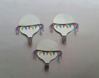Set of 3 Hot Air Balloon paper die cuts, Bon Voyage, Good Luck,Fun, Trip, Travel Adventure, Vacation