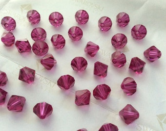 Swarovski #5301 Crystal Fuchsia Bicone Faceted Beads 4mm 6mm 8mm 12mm