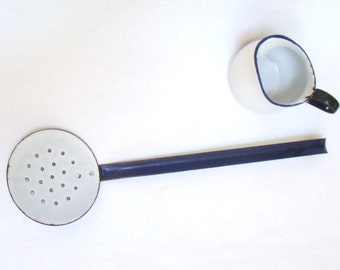 Enamel Slotted Spoon; Enamel Ladle; Enamel Skimmer; Blue and White Enamel; Vintage Enamel;  Vintage Kitchen; French Kitchen; Skimming Spoon