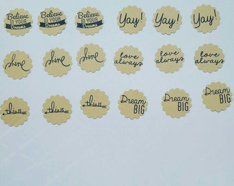 Scallop circles with stamped words. Embellishments. Die cut. Scrapbooking