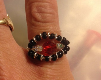 Sterling silver plated Ring, Ruby Swarovski Crystal