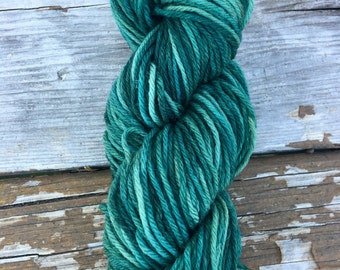 Hand Dyed Worsted Weight Yarn Teal Green