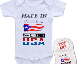 Puerto rican baby etsy newborn baby boys girls bowtie short sleeve romper bodysuit playsuit made in puerto rico assembled negle Gallery