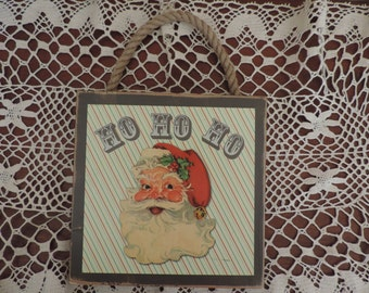 Vintage Santa Wood Sign
