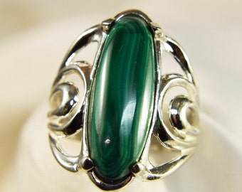 Rich Malachite Oval Hand Cut Ring